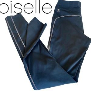 Oiselle Contrast Stitching Black Running Tights